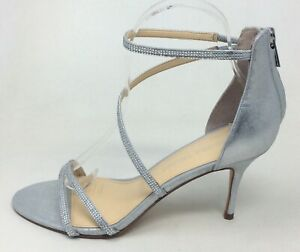 Ivanka Trump Womens IT Genese Strappy Dress Sandals Silver Suede Size 7.5 M US