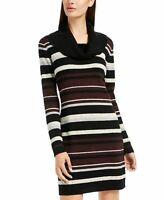 Bcx Womens Black Striped Long Sleeve Mock Above the Knee Sheath Dress Size Small