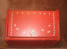 """Vintage Shabby Rustic Red Painted Flower Bread Box 16""""L x 9""""W x 9 1/2""""T"""