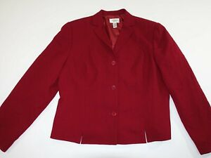 Talbots Women's 3 Button Blazer Jacket Size 18 Red 100% Wool Suit Coat Lined
