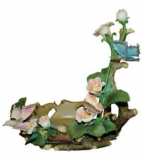 """HOME INTERIORS Butterfly Wood Flowers Jewellery Rings Holder 7.5"""" Tall 5"""" Wide"""