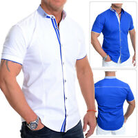 Mens Short Sleeve Shirt Smart Button down Grandad Collar Cotton White Royal Blue
