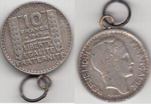 Pendentif Monnaie 10 Francs Turin 1949