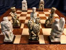 Antique Asian Meticulously Carved Celadon Craquelure Glaze Chess Set 5� K
