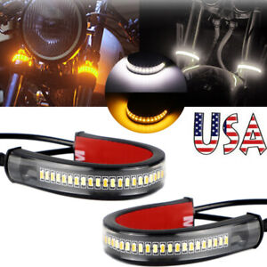 2X Motorcycle Flowing Amber LED Fork Turn Signal Strip Light For Harley Davidson