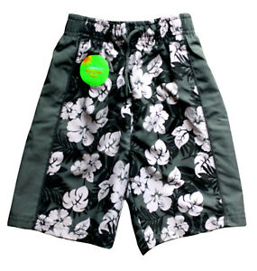 Original Adams Green & White Floral Boy's Swim Shorts Beach Swimming Trunks 3-10