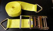 """4"""" Ratchet Strap Flatbed Truck Trailer Tow Truck Cargo Winch Tie Down 30' V Ring"""