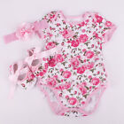 3 x Newborn Baby Girl Floral Romper Bodysuit Outfits Headband Shoes Set Clothes