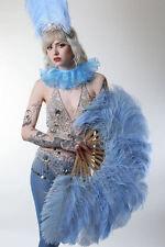 Bambou bois clair burlesque Feather silk fan portées pour Showgirl Danseuse 16 in (environ 40.64 cm)