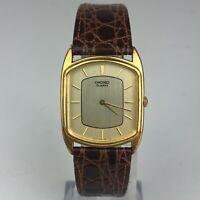 Seiko Mens Leather Band Crocodile Calf Rectangular Vintage Wristwatch 2620-5669
