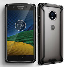 For Motorola Moto G5 (2017) + Clear Shockproof 360° Bumper TPU Cover Case Black