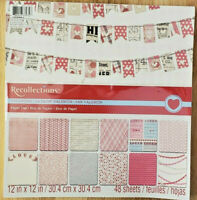 NEW Recollections 12x12 Valentine #2 Scrapbook Paper Card Stock Pad 48 Sheets