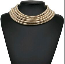 Women Multi 5 Row Layer Metallic Wide Necklace Stacked Coil Choker Collar.