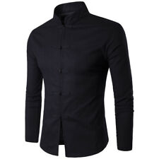 New Mens Chinese Kung Fu Top T-shirt Long Sleeve Slim Button Denim Stand Collar
