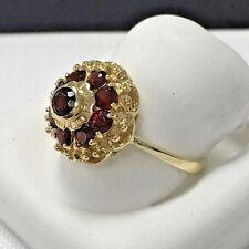 Art Deco look, 18KYG (750) Italian Garnet ring size 6 3/4