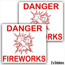 2 x Fireworks Box Packet Safety Stickers-Danger Warning Sticker-Red Hazard Signs
