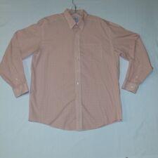 L L Bean Wrinkle Resistant Salmon/White Plaid Mens Dress Shirt Size L-Reg