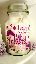 Personalised Large Candle Sticker Label Jar Gift Baby Shower Mum/Mother to Be