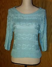 Fire Los Angeles Aqua Green Sweater Cropped Knit Net Hole Large 100% Acrylic