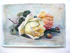 Paul-Emile Lecomte 1877/1950 Nature Morte Jeté de Roses H/Toile/Carton 32,7x21,7