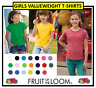 GIRL'S Valueweight Plain Fruit of the Loom T-Shirt Tee Shirt Blank School PE Kid