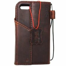 genuine vintage leather Case for apple iphone 7 book wallet cover brown slim new