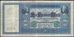 1910 100 Mark Germany Vintage Old Paper Money Banknote Currency Bill Antique VF