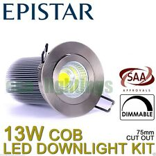Led Dimmable Downlight Complete Kit Ceiling Bulb COB 13W Cool White Chrome Cover
