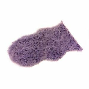 2 X LUXURY THICK PILE SUPERSOFT MONGOLIAN FAUX FUR SUEDE RUG MAT HEATHER LILAC