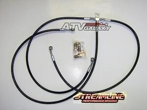 "4/"" Extended Steel Braided Rear Brake Line Carbon Smoke Yamaha Raptor 660 ASR"