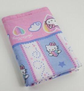 2003 Hello Kitty Twin Flat Sheet Hello Kitty  Flying Hearts & Stars All Over