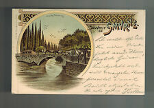 1898 Turkey Smyrne Picture Postcard Cover to Berlin germany Bridge on River