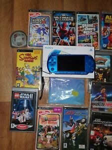 Sony PSP-3003 Vibrant Blue Boxed & 10 Games, 3 UMDs, GTA, LEGO, Sonic, Marvel