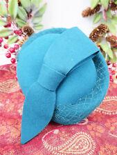 Vintage Style 1940's Forties 100% Wool Felt Teal Hat With Loop Trim Half Hat