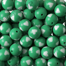 12pcs 20mm Green Heart Gumball Beads, Bubblegum Chunky Bead, Acrylic, Solid, USA
