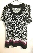 Christopher & Banks Women's Top Short Sleeve Multicolor Blouse Size L