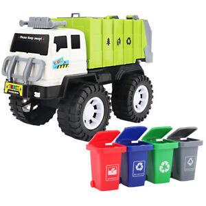 Child Kids Construction Garbage Truck With 4pcs Rubbish Bins Stem DIY Toys Gift
