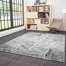 Teppich Wohnzimmer Modern Design Stein Mauer Optik in Grau Weiss Hochwertig