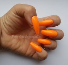24 Hand Painted False Nails - Neon Electric Orange Full Cover Gel Nails Tips