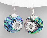 Sterling Silver 44mm Artistic Flower Abalone Shell Hook Dangle Earrings 6.3g