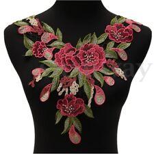 Apliques Bordado Cuello Rojo Flores Encaje Alineada Vestido Novia Coser Parche
