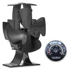 VonHaus 4-Blade Heat Powered Wood Stove Fan with Temperature Gauge for Heaters