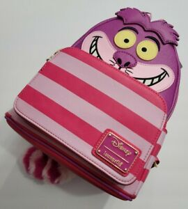 DISNEY LOUNGEFLY MINI BACKPACK ALICE IN WONDERLAND CHESHIRE CAT FUZZY TAIL NWT