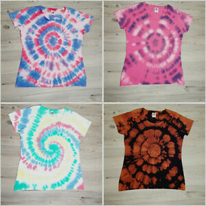 Ladies Fitted Size Large Tie Dye T-Shirt Many Colours and Designs Womens Girls