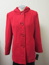 Anne Klein Hooded Wool Coat M Red NWT $205