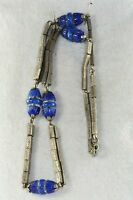 VTG ANTIQUE 1920'S ART DECO BLUE CZECH ART GLASS NECKLACE