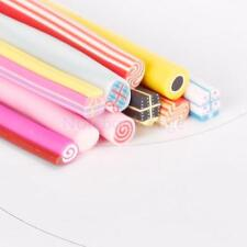 10Pcs Sweat Candy Lollipop Slice Fimo Polymer Clay Canes Nail Art Rods Accessory