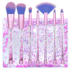 7pcs Makeup Brushes Set Mermaid Unicorn Crystal Quicksand Sequins + Pouch Case