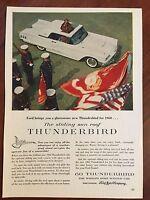 Vintage 1960 Original Print Ad Sliding Sun Roof White FORD THUNDERBIRD T-BIRD