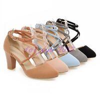 Womens Mary Jane Mid Block Heels Cross Ankle Strap Pump Rund Toe Faux Suede Shoe